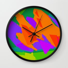 colorful abstract background in purple orange green and blue Wall Clock