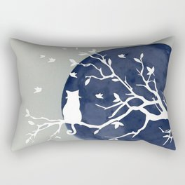 Blue moon   Dark moon   Cat on tree branch   Witchy cat   Wicca Rectangular Pillow