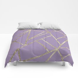 Classic Lavender Gold Geo #1 #geometric #decor #art #society6 Comforters