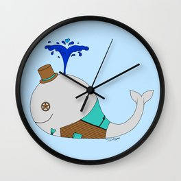 Steampunk Whale (Gray) Wall Clock