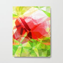 Red Rose with Light 1 Abstract Polygons 1 Metal Print