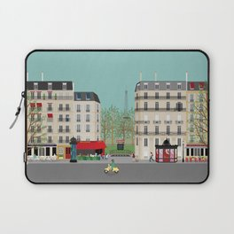 Paris Street Scene Art Print - Daytime Laptop Sleeve