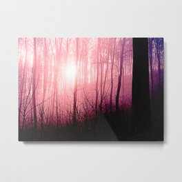 Pink fog in the forest Metal Print