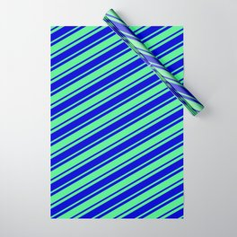 Light Green and Blue Colored Lined Pattern Wrapping Paper