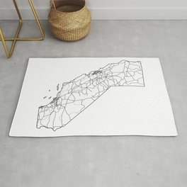 California White Map Rug