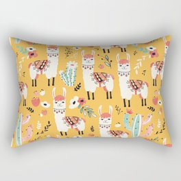 White Llama with flowers Rectangular Pillow