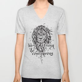 Be Strong & Courageous, Geometric Lion Unisex V-Neck