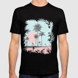 Beachfront palm tree soft pastel sunset graphic T-shirt