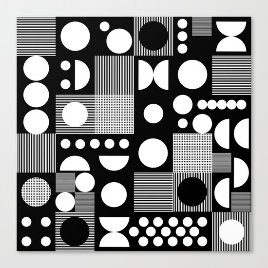 Black and white minimal pattern abstract scandi design geometric shapes Canvas Print