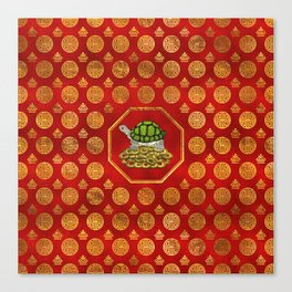 Golden Tortoise / Turtle Feng Shui on red Canvas Print