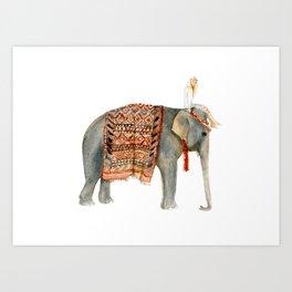 Riding Elephant Art Print