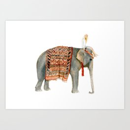 Riding Elephant Art Print