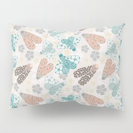 Pastel tone insects in flower field Pillow Sham
