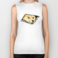 doge Biker Tanks featuring Ceiling Doge by Jimiyo
