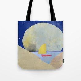 Large Full Moon Stars at Night and Sailboat Tote Bag