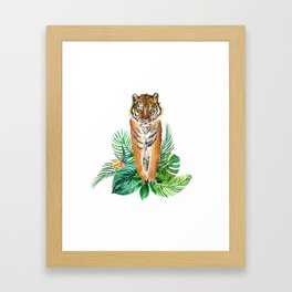 watercolor illustration of a tropical laves and Tiger Framed Art Print
