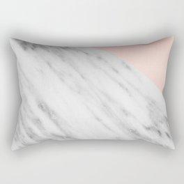 Real Carrara Italian Marble and Pink Rectangular Pillow