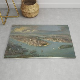 Vintage Pictorial Map of New York City (1880s) Rug