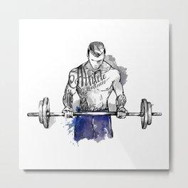 Weight-Lifting Athlete Metal Print