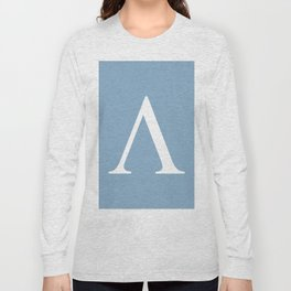 Greek letter lambda sign on placid blue background Long Sleeve T-shirt