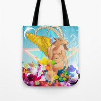 baphomet Tote Bags featuring Baphomet by rodalume