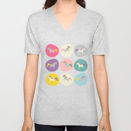 Cute Unicorn polka dots teal pastel colors and linen texture #homedecor #apparel #stationary #kids Unisex V-Neck