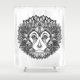 MONKEY head. psychedelic / zentangle style Shower Curtain