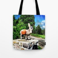 donkey Tote Bags featuring Donkey by CleanSlate