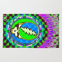 grateful dead Area & Throw Rugs featuring Grateful Dead #9 Optical Illusion Psychedelic Design by CAP Artwork & Design