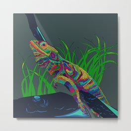 Colorful Lizard Metal Print