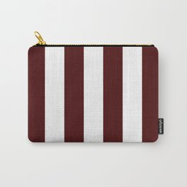 Narrow Stripes - White and Bulgarian Rose Red Carry-All Pouch