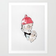 Bill Murray featured as Steve Zissou from The Life Aquatic with Steve Zissou by Wes Anderson Art Print
