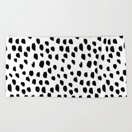 Handdrawn drops and dots on white-Mix & Match with Simplicty of life Beach Towel