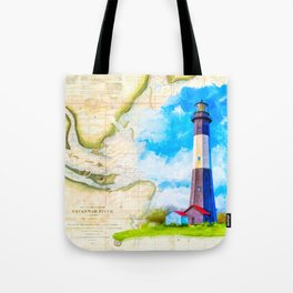 Tybee Island Lighthouse - Vintage Nautical Map Collage Tote Bag