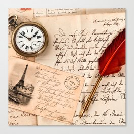 Vintage Old Paper Pen Watch Writing Stamp Postcard Canvas Print