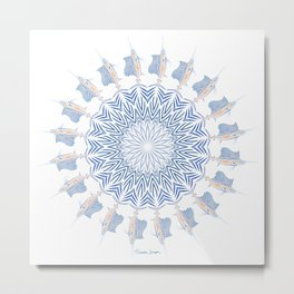 Tribal Sailfish Mandala V2 Metal Print