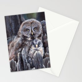 Wood  -  Owls Stationery Cards