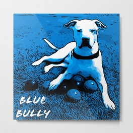 Blue Bully grass with logo Metal Print
