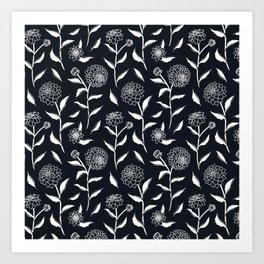 Autumn Dahlias Black&White Art Print