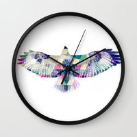 hawk Wall Clocks featuring Hawk by NKlein Design