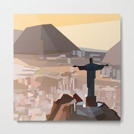 Geometric Christ the Redeemer, Brazil Metal Print