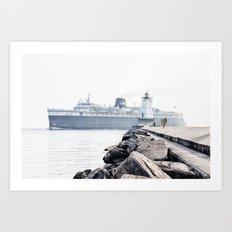 Badger Car Ferry - Ludington Michigan Art Print