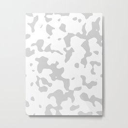 Large Spots - White and Light Gray Metal Print