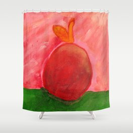 The Apple - Painting by young artist with Down syndrome Shower Curtain