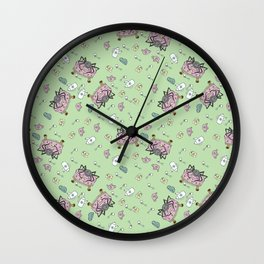 Teatime Spider - Green Wall Clock