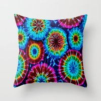 tie dye Throw Pillows featuring Tie Dye by gypsykissphotography