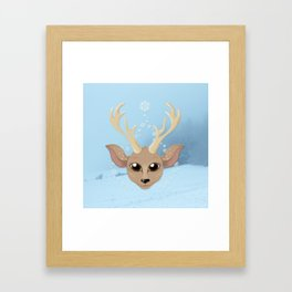 Snow Deer Framed Art Print