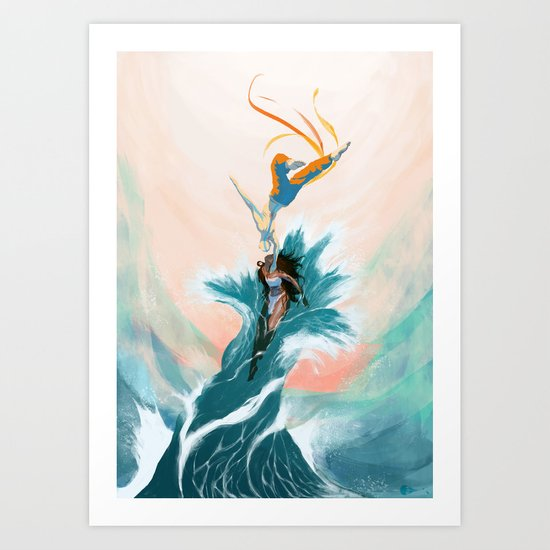 Katara and Aang Art Print