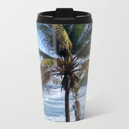 Black Sand Beaches and Palm trees Metal Travel Mug