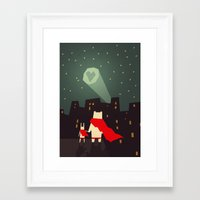 freeminds Framed Art Prints featuring The city needs love by Yetiland